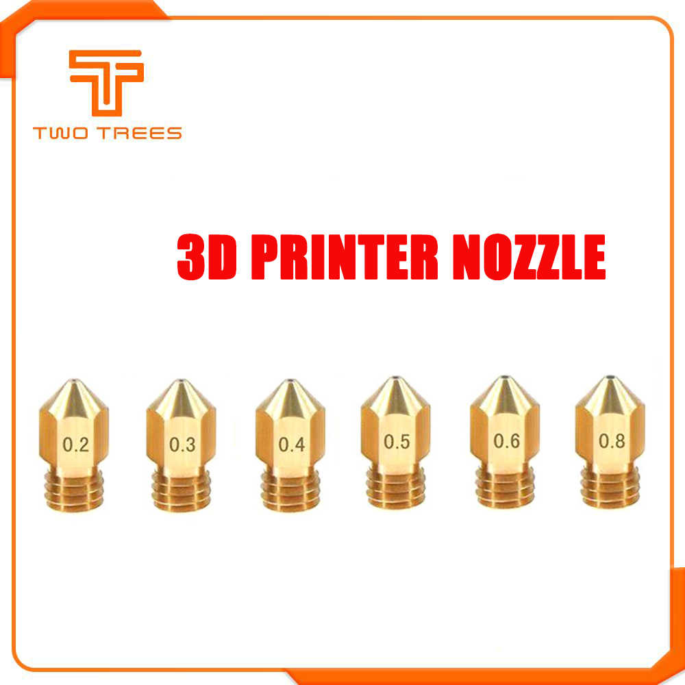 Dua Pohon MK8 Nozzle 0.4 Mm 0.3 Mm 0.2 Mm 0.5 Mm Tembaga 3D Printer Extruder Threaded 1.75 Mm Filamen kepala Kuningan Nozzle untuk Ender 3