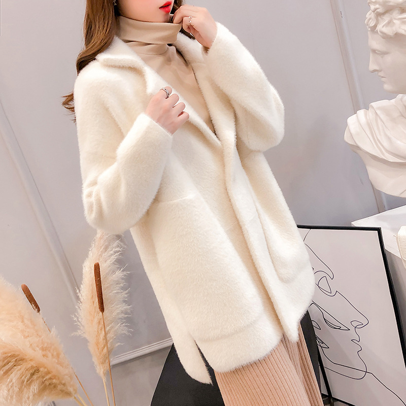 Sweater Cardigan Spring Autumn Warm Female Thick Women New Faux Solid Mink Knitted Elegant