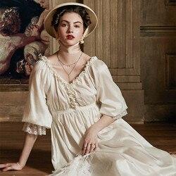 Летнее платье, хлопковая ночная рубашка, романтическая ночная рубашка, платье для сна, Элегантная Дамская ночная рубашка, Средневековый евр...