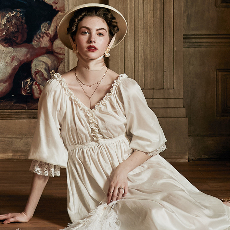 Summer Dress Cotton Nightgown Romantic Nightdress Gown  Sleepwear Elegant Ladies Nightgown Medieval European style