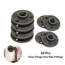 """10 pces 1 """"1/2"""" 3/4 """"piso de ferro maleável decorativo preto/parede flange maleável encaixes de tubulação de ferro fundido bsp furo rosqueado"""