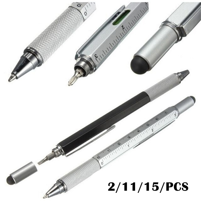 2/11/15/pcs 7colors novel Multifunctional Screwdriver Ballpoint Pen Touch Screen Gift Tool School office supplie stationery pens(China)