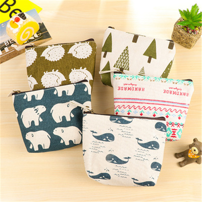 DL SN02 Creative Forest Zero Purse Lovely Small Fresh Cartoon Coin Bag Fabric Zero Purse Exquisite Office Supplies Small Gift