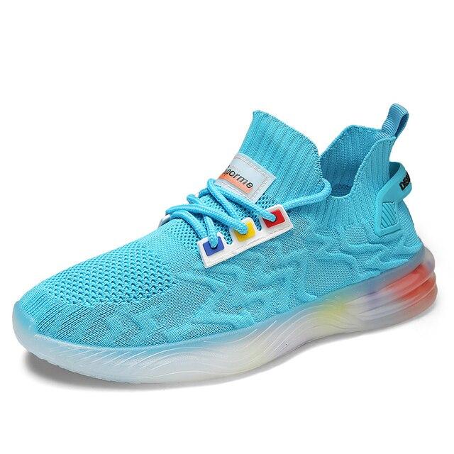 Zapatos informales de estilo de tendencia para hombre, zapatillas con personalidad, ligeras, transpirables, de malla, tejidas, Tenis masculinos, 2020 5