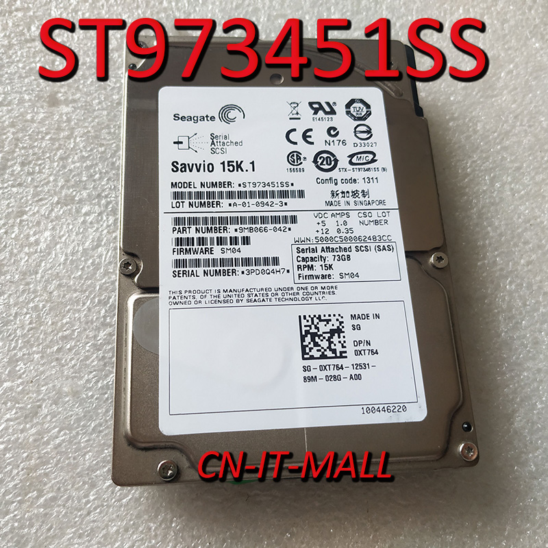 Seagate Savvio 15K ST973451SS XT764  NP657 73.4 GB 15000 RPM 16MB Cache SAS 3Gb/s 2.5
