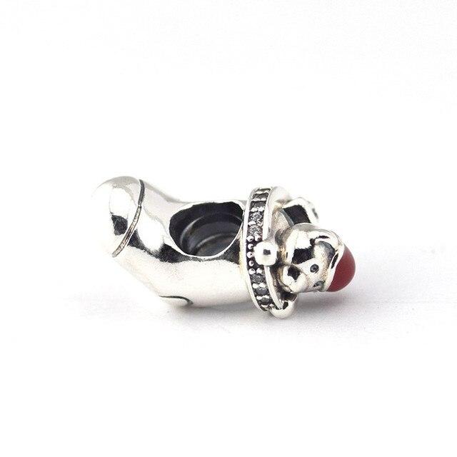 Прозрачный CZ и красная Эмаль Рождество шапка чулок с медведем серебряные бусины для шармов браслеты для женщин DIY серебряные бусины 925 пробы...