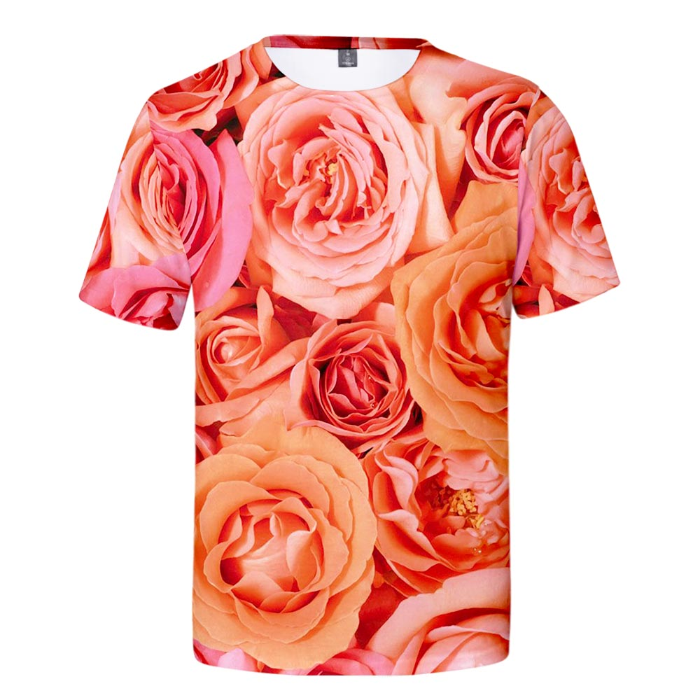 WAMNI Summer 3D Rose T Shirt Fashion Casual Streetwear Romantic Male & Female Tshirt Daily Harajuku Hip Hop Funny Loose Top Tee