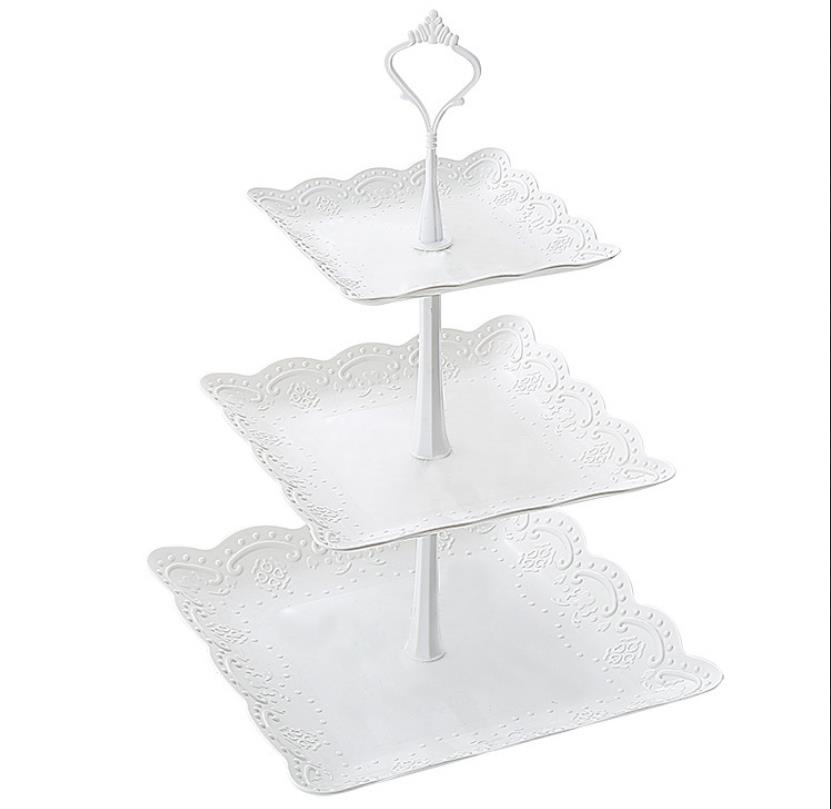 1Set 3 Tier Layer Fruit Plate Holder Cake Plate Stand Handle Fruit Stand S8