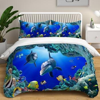 Shark DYI Printed Duvet Cover set Child Room Bedding Blue Submarine Shark Pattern Pillowcase Double Comforter Bedding sets