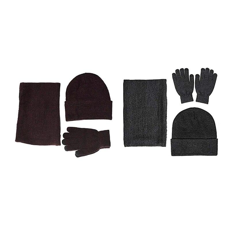 2 Sets Winter Warm Beanie Hat + Scarf + Press Screen Gloves, Unisex Thermal Winter Warm Knitted Beanie Hat Neck Glove For Men Wo