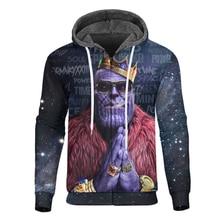 Cloudstyle Winter Fleece Zipper Hoodie Cool 3D Printed Thanos Character Warm Hooded Sweatshirt Hip Hop Men Streetwear