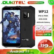 Oukitel wp12 primeiro android 11 ip68 impermeável áspero telefone móvel 5.5 hd hd hd + 4gb ram 32gb rom mt6761d 4000mah smartphone nfc