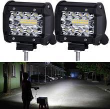 NAOEVO – lampe de travail Led 4 pouces, faisceau combiné, 144W, 12000lm, 12V, 24V, 4x4, pour camion, Niva, ATV