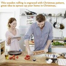 Рождественская Скалка гравированная резная деревянная рельефная Скалка кухонный инструмент DNJ998