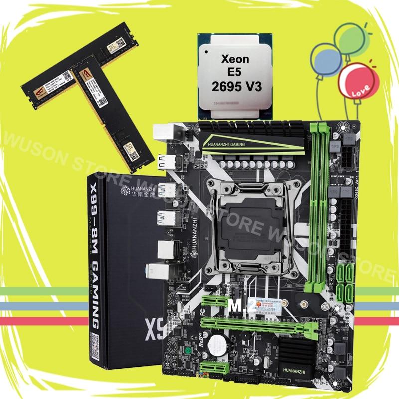 HUANANZHI X99 LGA2011-3 motherboard bundle new X99 motherboard with M.2 NVMe slot CPU Xeon E5 2695 V3 RAM 32G(2*16G) 2400 DDR4