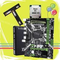 Huananzhi x99 LGA2011-3 placa-mãe pacote novo x99 placa-mãe com m.2 nvme slot cpu xeon e5 2695 v3 ram 32g (2*16g) 2400 ddr4