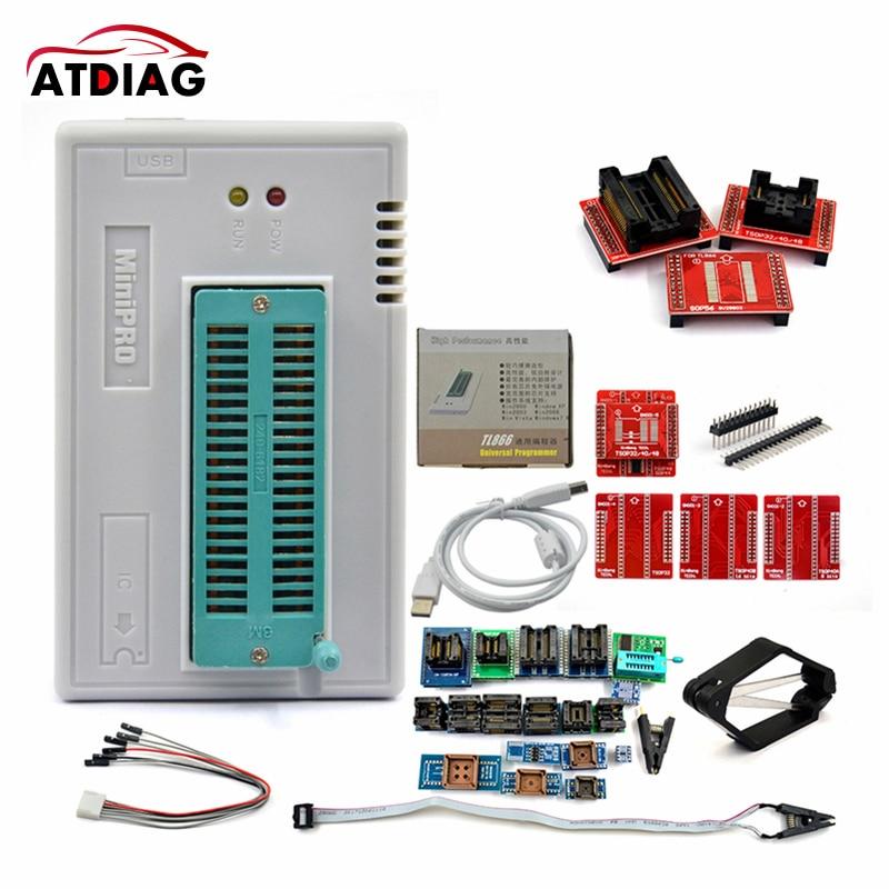 V9.0 оригинальный MINI PRO TL866 II Plus USB Универсальный программатор EEPROM FLASH с адаптерами высокоскоростной программатор