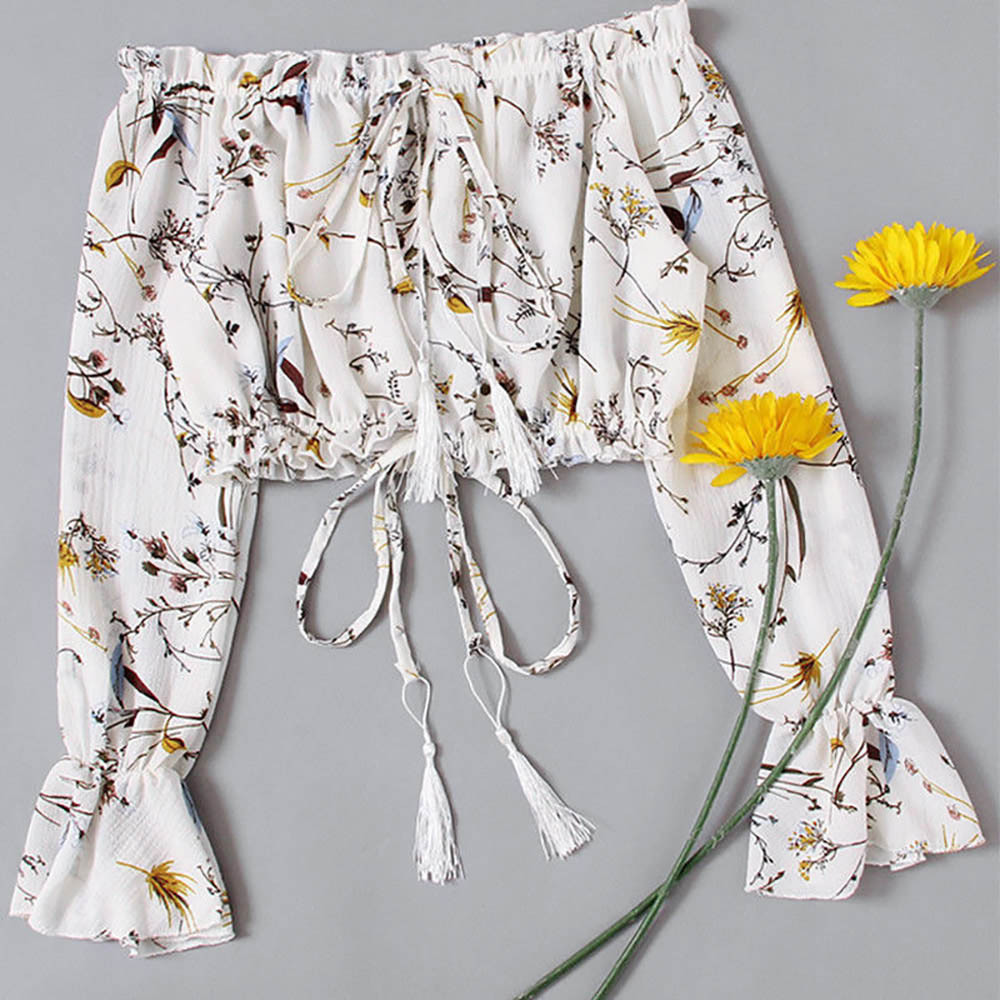 Blouse Women Summer Off Shoulder Top Long Sleeve Pullover Casual Shirt Bow Belt Loose Casual Tops blusas mujer de moda 2020