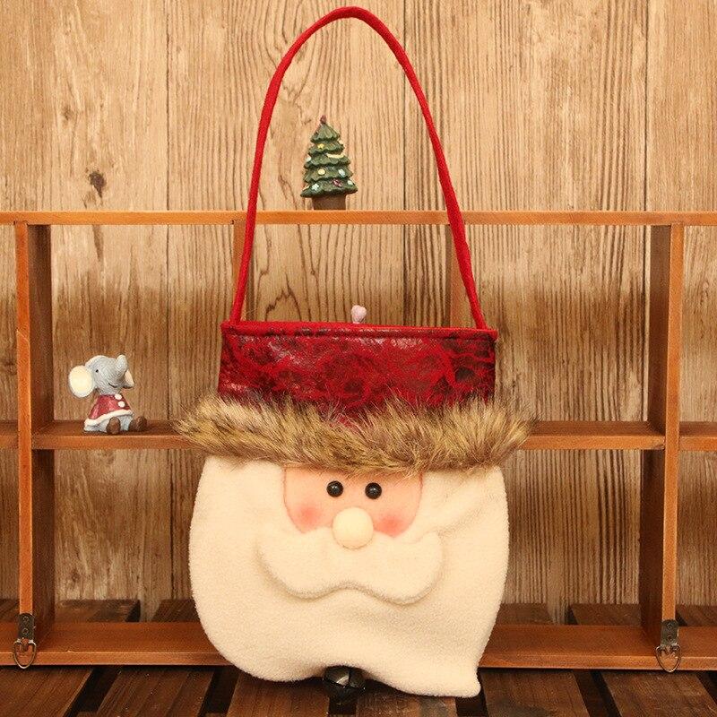 Novedosos soportes de regalo X'MAS Santa Claus muñeco de nieve ciervo bolsa de diseño con campana Navidad Fiesta suministros 18*43 cm 10 uds/lote DEC421 - 6