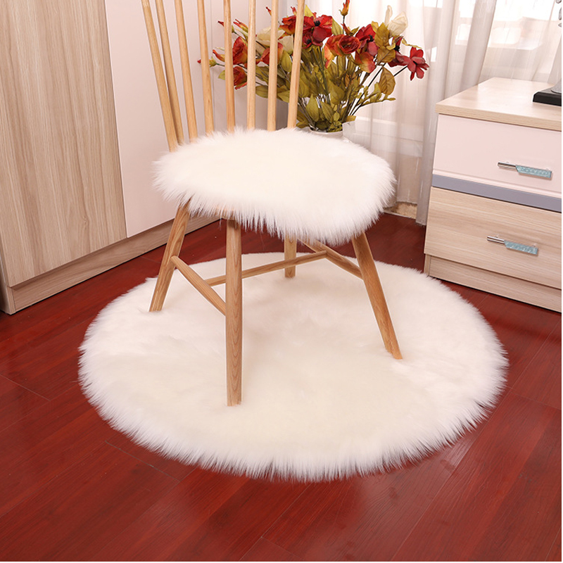 Wool Warm Hairy Carpet Seat Covers Washable Round Soft Luxury Plush Artificial Sheepskin Rug Chair Cover Bedroom Mat Decorative