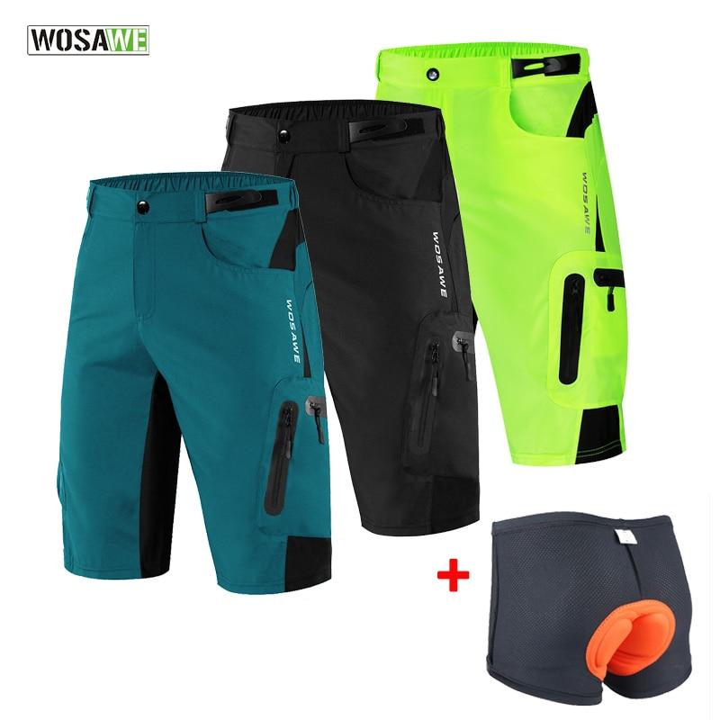 WOSAWE hommes rembourré Baggy Shorts de cyclisme réfléchissant vtt VTT vélo équitation pantalon résistant à leau coupe ample Shorts