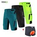 Мужские мешковатые велосипедные шорты WOSAWE с подкладкой, Светоотражающие Брюки для горного велосипеда, велосипедные водонепроницаемые сво...