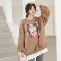 Loose Print Upset Add Wool S Tides Set Head Two Fleece Blouse Shirt Orange Coffee With Velvet 9152