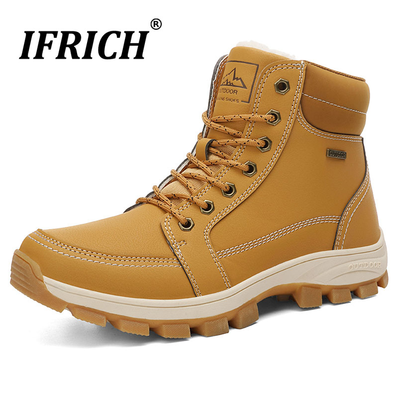 New Arrival 2019 Men Working Boots Winter Warm Men Snow Boots Non-Slip Rubber Trekking Shoes Mens With Fur Pu Leather Man Boots