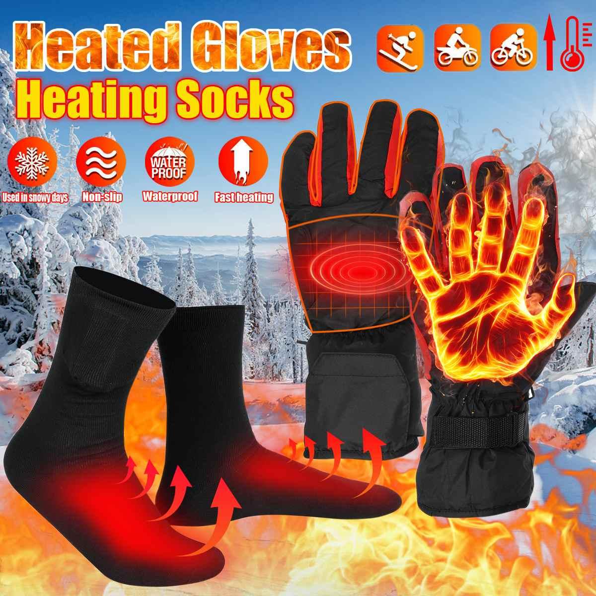 Зимние лыжные перчатки с электрическим подогревом, теплые мужские и женские зимние лыжные перчатки с электрическим подогревом, водонепрон...