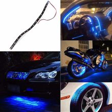 30cm 15 LED Daytime Running lights 3528 SMD Car Home Waterproof Flexible Strip Light Lamp 12V BLUE(China)