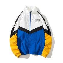 Японская куртка в уличном стиле Мужская Лоскутная стеганая куртка ветровка с принтом весенне-осеннее модное повседневное Свободное пальто в стиле хип-хоп