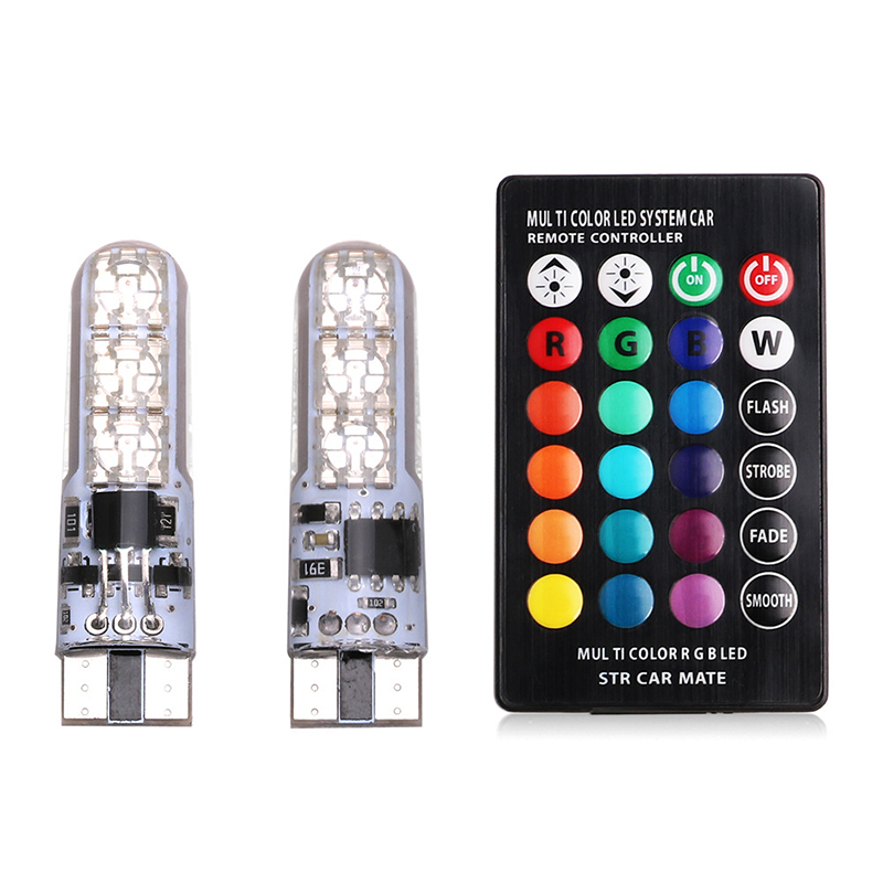 2PCS Auto Clearance Lights SMD RGB LED 194 168 Bulb Remote 5050 6SMD Led Width Interior Lighting Source !