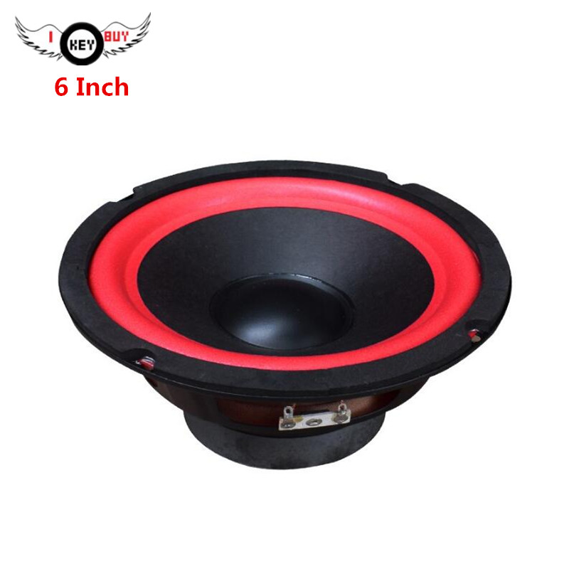 6 Inch Car Audio Wood Box Modified Full Frequency Subwoofer 4 Ohm 80W 165mm Waterproof Polyplastic Cone Red Rubber Edge  Speaker