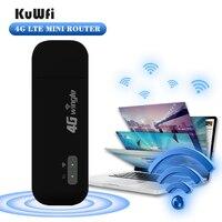 KuWFi Mini 4G Router 4G Wireless USB Modem Wifi Dongle sbloccato Mini Router Wireless per auto Hotspot Wifi Mobile con Slot per schede Sim