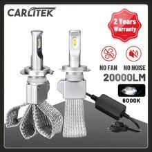 CARLITEK H1 H4 H11 H7 светодиодные лампы передних фар для авто H8 H9 9006 9005 Автомобильные фары 20000LM безвентиляторный HB3 HB4 автомобиля Универсальный Turbo га...