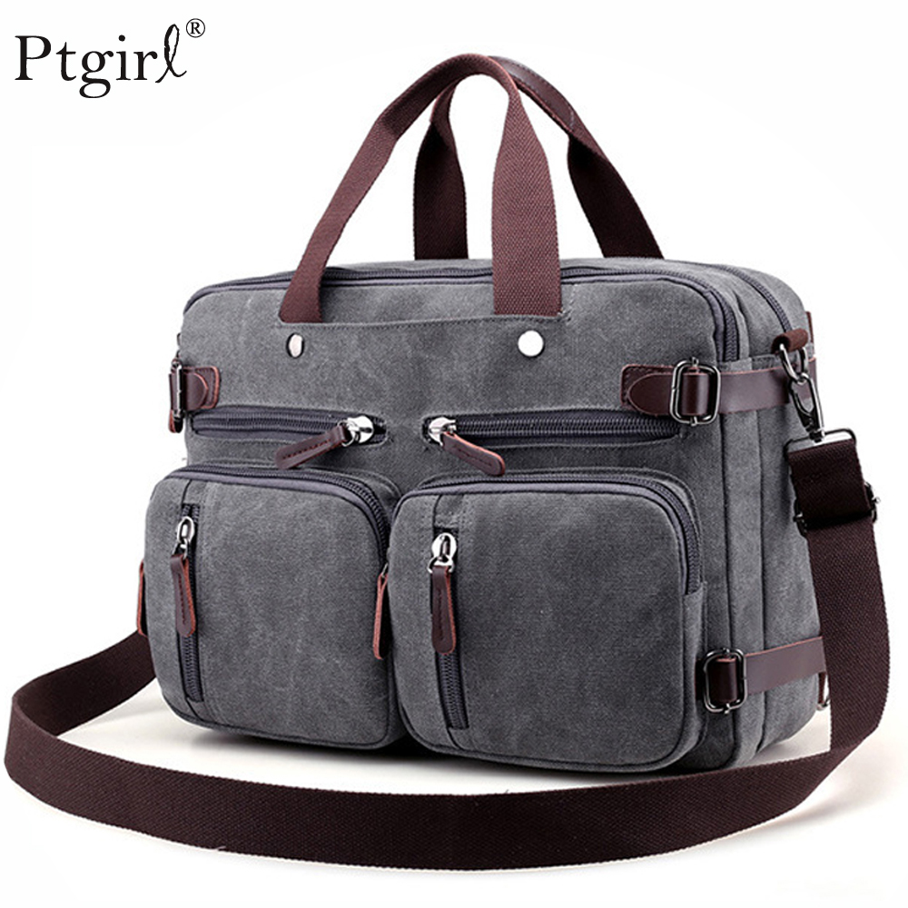 2019 Men Canvas Bag Leather Briefcase Travel Suitcase Messenger Shoulder Tote Back Handbag Large Casual Business Laptop Pocket