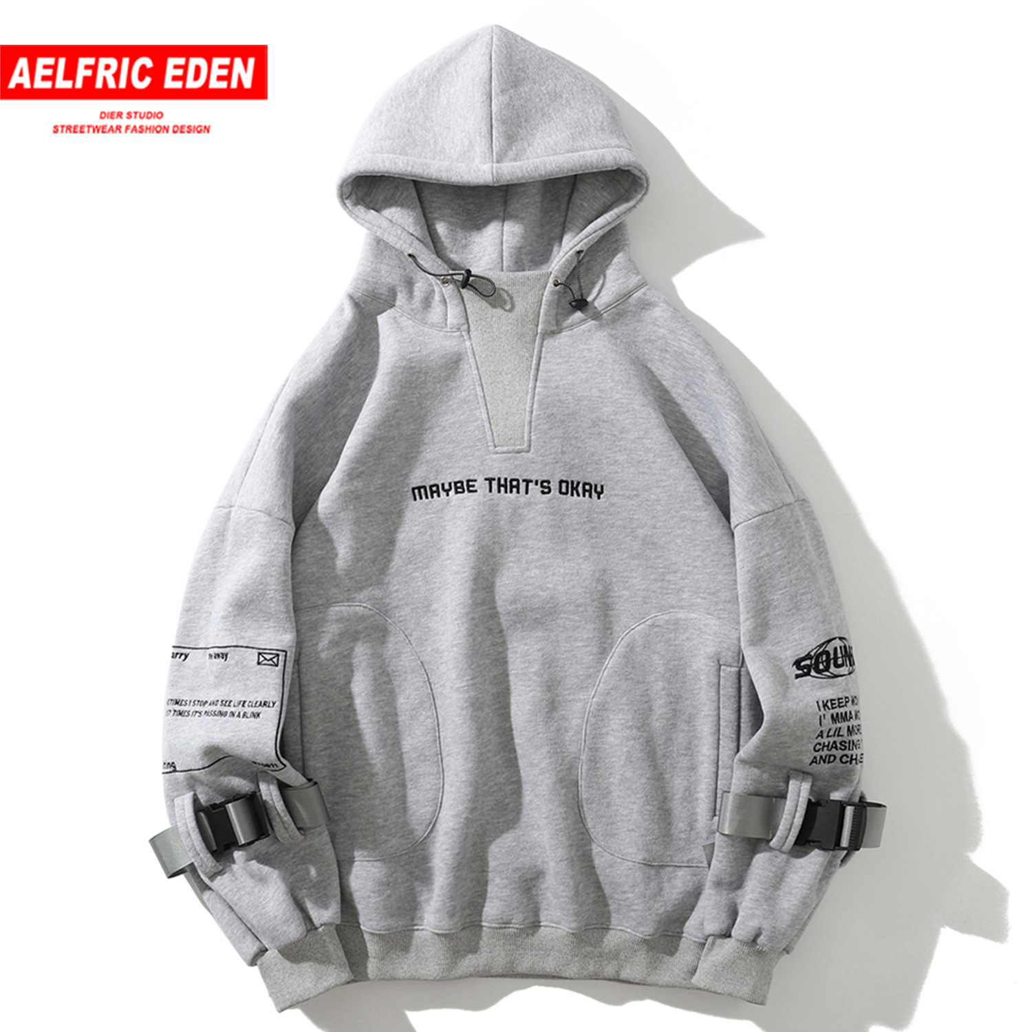 Aelfric Eden Hip Hop Hoodies Sweatshirts 2020 Letter Embroideried Harajuku Casual Cotton Pullover Streetwear Hoodies Men Women