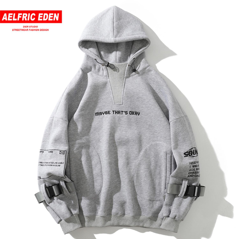Aelfric Eden Hip Hop Hoodies Sweatshirts 2020 Letter Embroideried Harajuku Casual Cotton Pullover Streetwear Hoodies Men Women