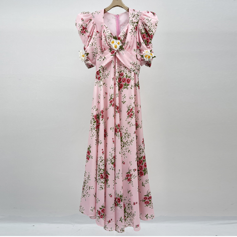 Fashion Runway Three-Dimensional Flower V-neck Puff Sleeve Vacation Mid-length Pink Dress For Woman Summer 2021