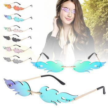 Hot Sale Fire Flame Sunglasses Vintage Photoshooting Women UV 400 Wave Sun Glasses Eyewear Metal Shades Eyeglasses