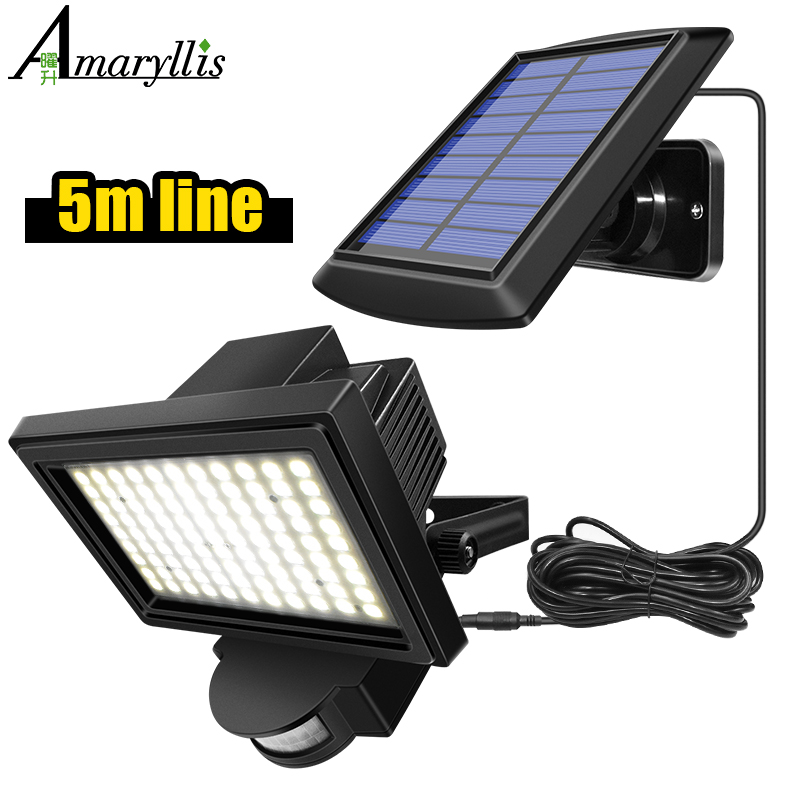 99 LED Solar Power PIR Motion Sensor Flood Wall Light Waterproof Outdoor Indoor Garden Security Solar Lamp With 5m Line 1