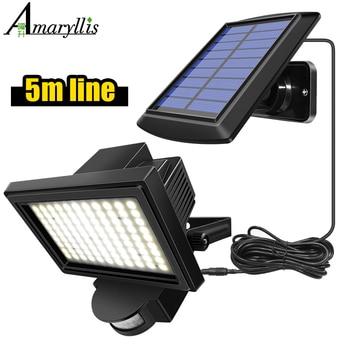 99 LED Solar Power PIR Motion Sensor Flood Wall Light Waterproof Outdoor Indoor Garden Security Solar Lamp With 5m Line 1