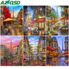 AZQSD Oil Painting By Numbers Street Drawing On Canvas Home Decoration Unframe Coloring By Numbers Landscape Handpainted Gift