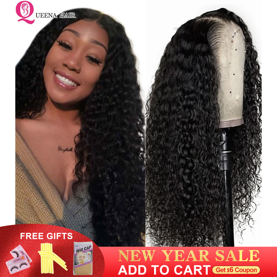 Long Curly Front Lace Wig 13X4 Lace Front Human Hair Wigs For Black Women Peruvian Transparent Lace Frontal Closure Wigs Remy