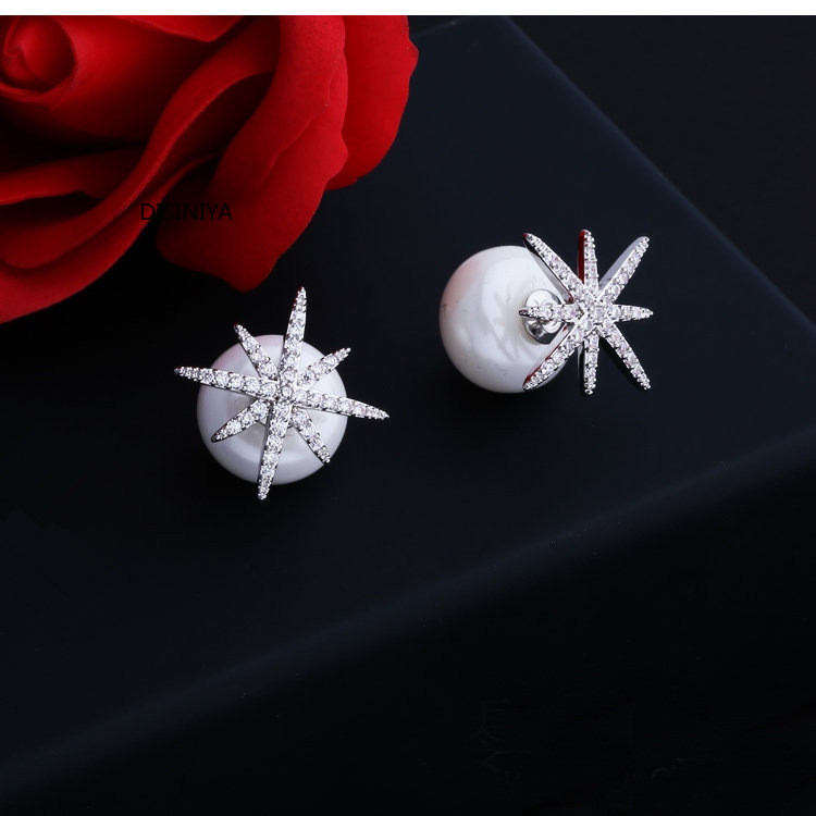 DISINIYA 2019New Fashion Jewelry 925 Sterling Silver Snowflake Design Cubic Zircon Pearl Stud Earrings For Women High Quality 05