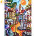 CHENISTORY абстрактный дом пейзаж Набор для рисования по номерам для взрослых Diy подарок расписанные вручную масляные краски наборы для дома нас...
