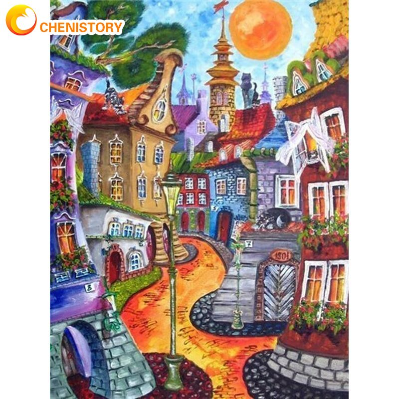 Купить chenistory абстрактный дом пейзаж набор для рисования по номерам
