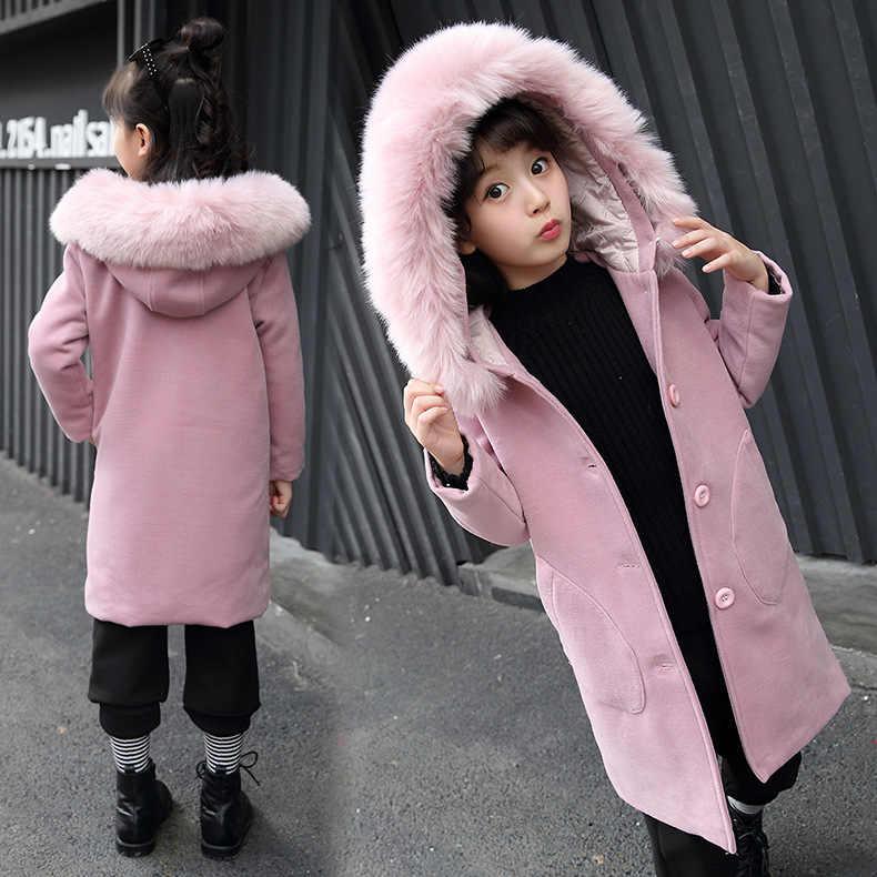 Коллекция 2019 года, Детская осенняя однотонная куртка для девочек детская одежда повседневное шерстяное пальто с капюшоном для детей возрастом от 3 до 14 лет плотная верхняя одежда с воротником, 288