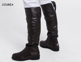 Mikasa Ackerman Anime Women Attack On Titan Boots Cosplay Shingeki No Kyojin Leather Long Over-the-Knee Boots Levi Eren Shoes