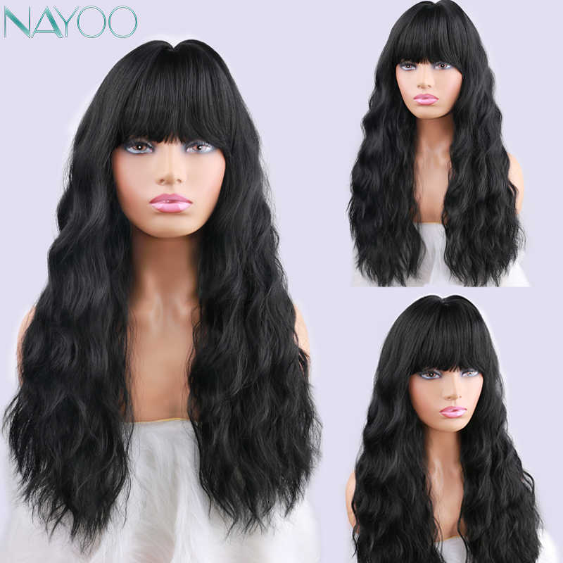 Long Women S Wigs With Bangs Kinky Curly Natural Black Synthetic Hair Wigs For Women African American Cosplay Party Wig Aliexpress